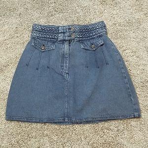 Free People Braided Mini Boho Denim Jean Skirt